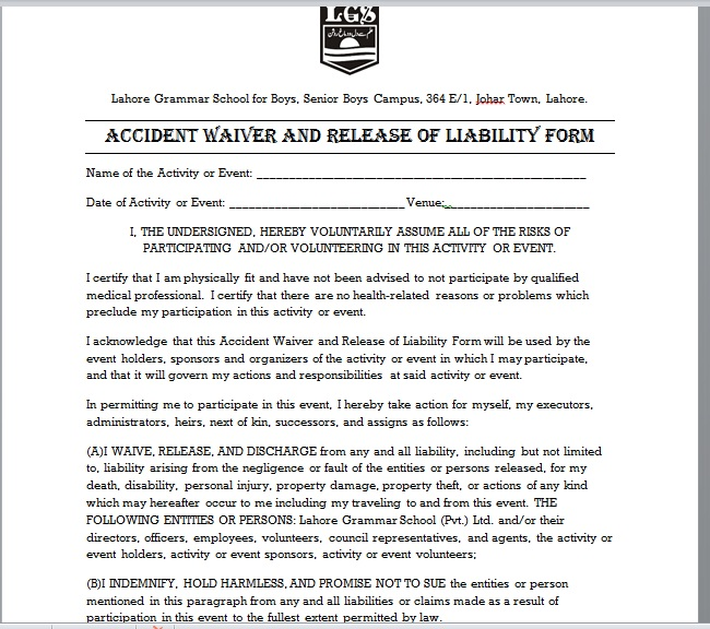Release Of Liability Form Template 24